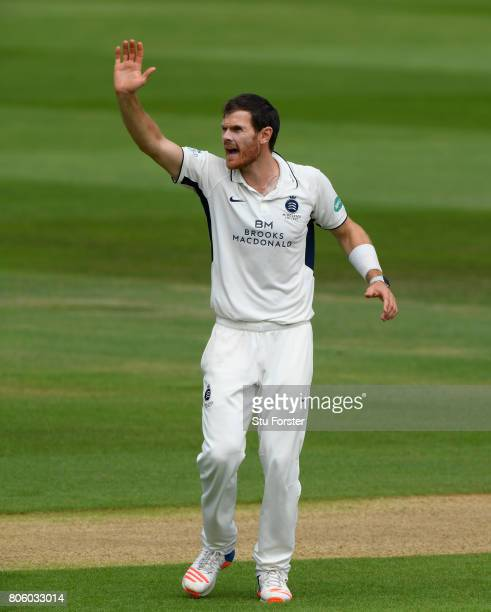 Middlesex bowler James Harris appeals with success for the wicket of Umeed during the Specsavers County Championship Division One match between...