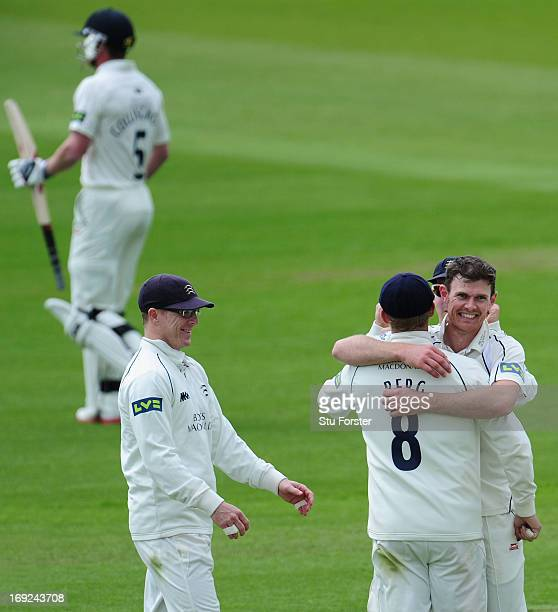 Middlesex bowler James Harris celebrates with team mates after taking the wicket of Paul Collingwood during day one of the LV County Championship...