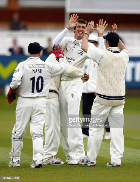 Middlesex bowler Steven Finn celebrates bowling Glamorgan's Jamie Dalrymple which was caught by Tim Murtagh during the LV County Championship...