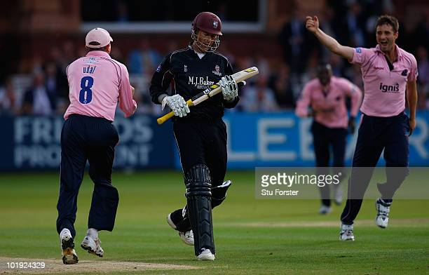 Middlesex bowler Tim Murtagh celebrates after running out Somerset batsman Marcus Trescothick during the Friends Provident T20 match between...