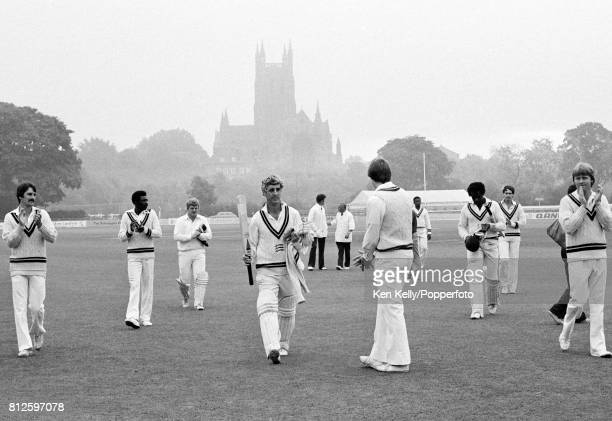 Middlesex captain Mike Brearley is applauded off the field at the end of his last match for Middlesex against Worcestershire in the Schweppes County...