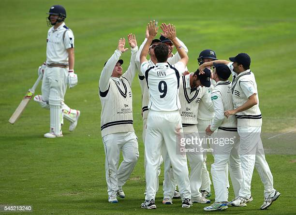 Middlesex celebrate the dismissal of Gary Ballance of Yorkshire during day four of the Specsavers County Championship division one match between...