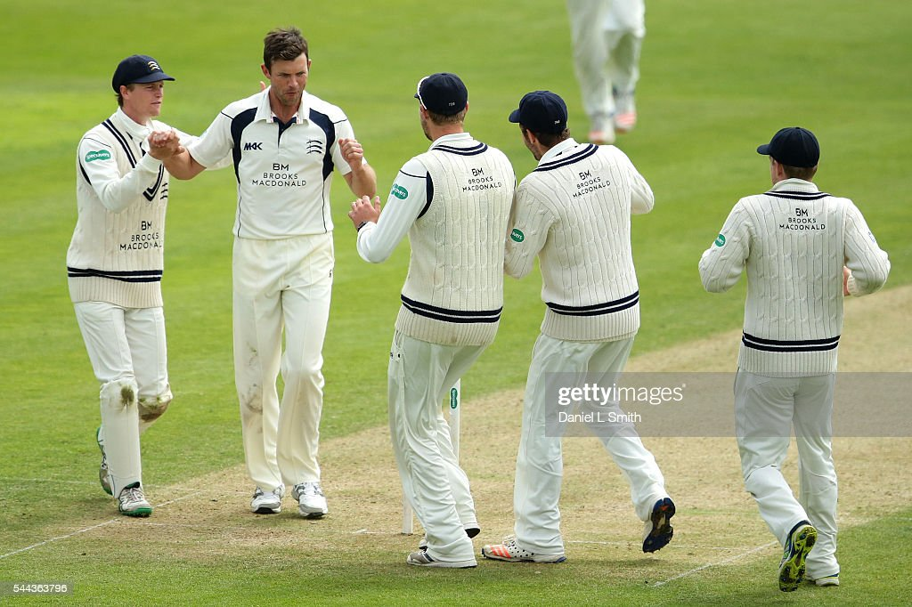 Middlesex celebrate the dismissal of Kane Williamson of Yorkshire during day one of the Specsavers County Championship division one match between Yorkshire and Middlesex at North Marine Road on July 3, 2016 in Scarborough, England.