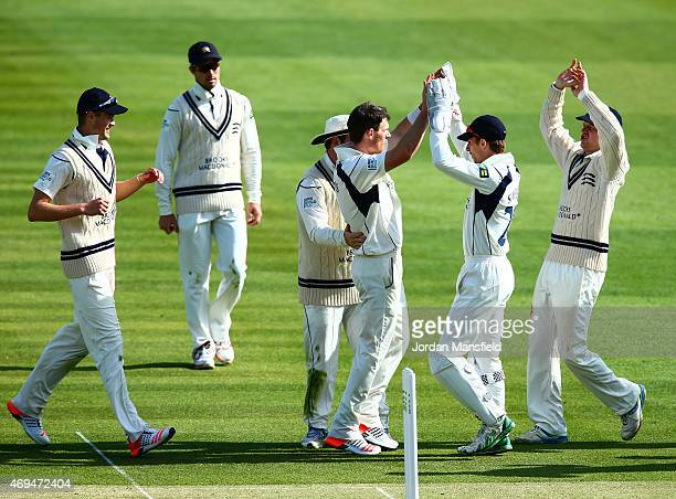 Middlesex celebrate with James Harris of Middlesex after he bowls out lbw Samit Patel of Nottinghamshire during day one of the LV County Championship...