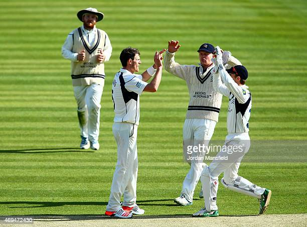 Middlesex celebrate with James Harris of Middlesex after he bowls out James Taylor of Nottinghamshire during day one of the LV County Championship...
