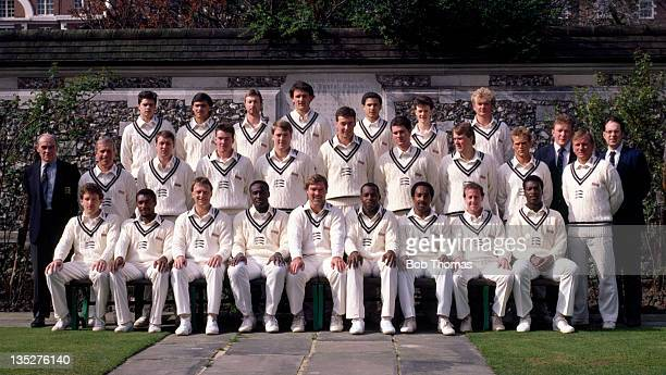 Middlesex County Cricket Club at Lord's cricket ground in London circa April 1988 Back row left to right Alex Barnell Mark Ramprakash Andy Needham...