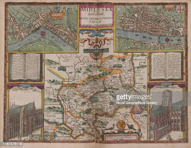 Middlesex described with the most famous cities of London and Westminster described by John Norden augmented by John Speed From A Prospect of the...