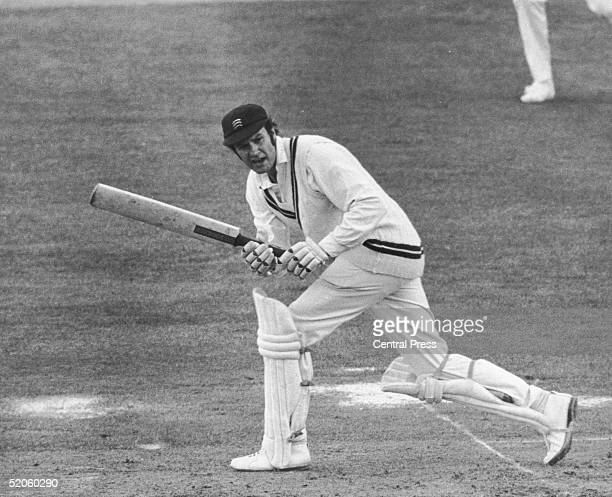 Middlesex opening batsman Mike Smith makes his century against Ian Botham of Somerset at Lord's, 14th May 1975.
