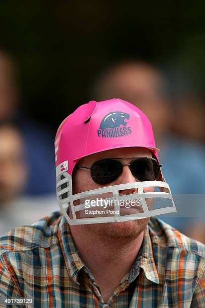 Middlesex Panthers fan wearing a novelty hat looks on during the Natwest T20 Blast match at Lord's Cricket Ground on May 17 2014 in London England
