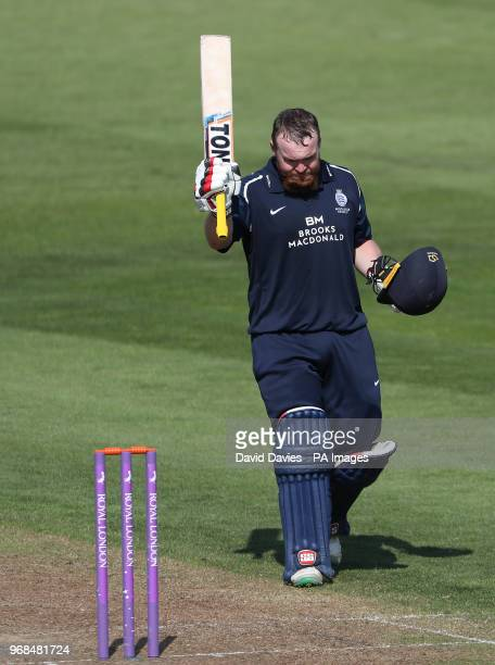 Middlesex's Paul Stirling reaches his 100 during the Royal London One Day Cup South Group match at the Brightside Ground Bristol