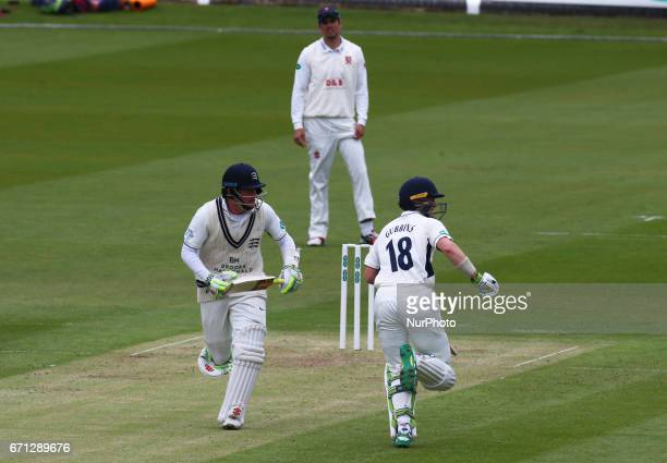 LR Middlesex's Sam Robson and Middlesex's Nick Gubbins during Specsavers County Championship Division One match between Middlesex CCC and Essex CCC...