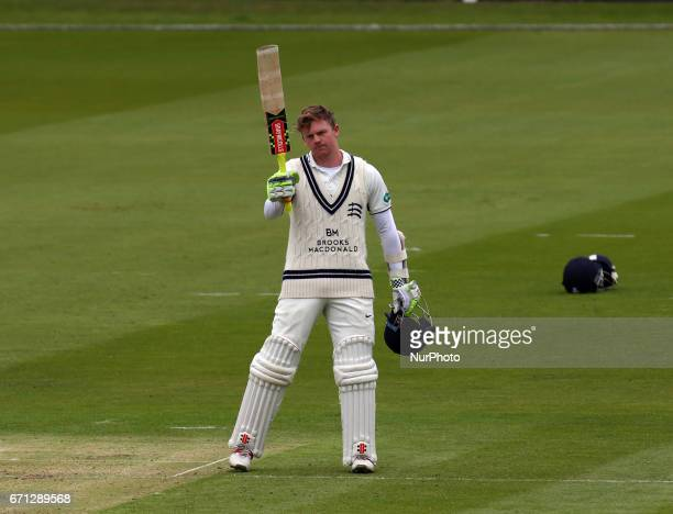 Middlesex's Sam Robson celebrates his Century during Specsavers County Championship Division One match between Middlesex CCC and Essex CCC at Lord's...
