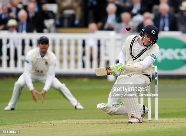 Middlesex's Sam Robson ducks a short ball from Essex's Neil Wagner during day 1 of the Specsavers County Championship Division One match between...
