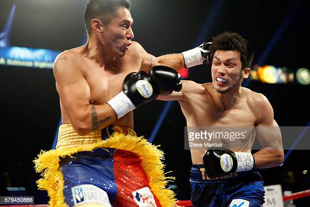 Middleweight boxer George Tahdooahnippah fights against Ryota Murata of Japan at MGM Grand Garden Arena on July 23 2016 in Las Vegas Nevada Murata...