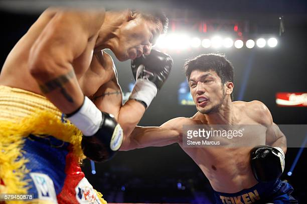 Middleweight boxer Ryota Murata of Japan lands a body shot on George Tahdooahnippah during their fight at MGM Grand Garden Arena on July 23 2016 in...