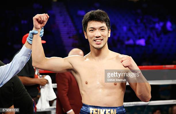 Middleweight boxer Ryota Murata of Japan poses in the ring following his firstround TKO over George Tahdooahnippah at MGM Grand Garden Arena on July...