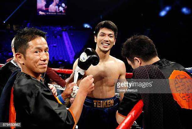 Middleweight boxer Ryota Murata of Japan smiles after defeating George Tahdooahnippah at MGM Grand Garden Arena on July 23 2016 in Las Vegas Nevada...