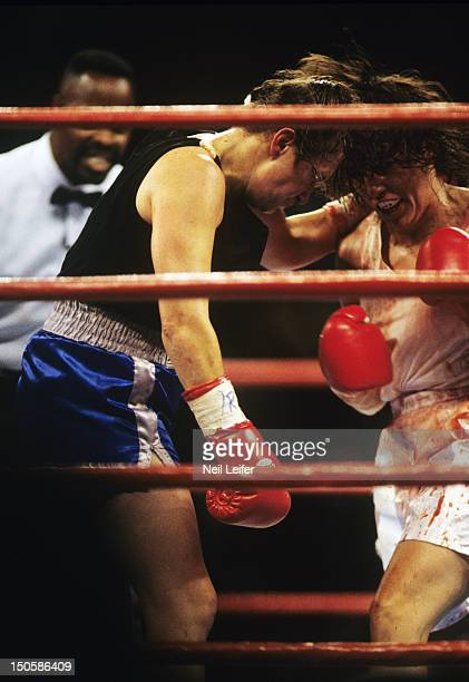 Christy Martin in action vs Andrea DeShong during fight at MGM Grand Garden Arena Las Vegas NV CREDIT Neil Leifer