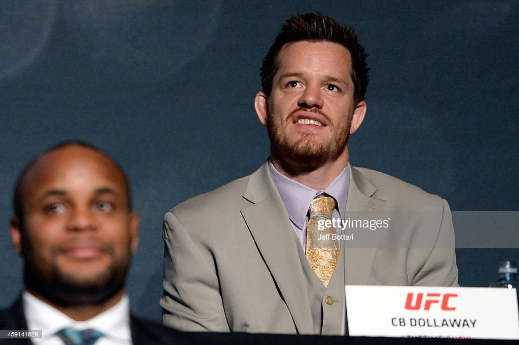 UFC middleweight CB Dollaway interacts with the crowd during the UFC Time Is Now press conference at The Smith Center for the Performing Arts on November 17, 2014 in Las Vegas, Nevada.