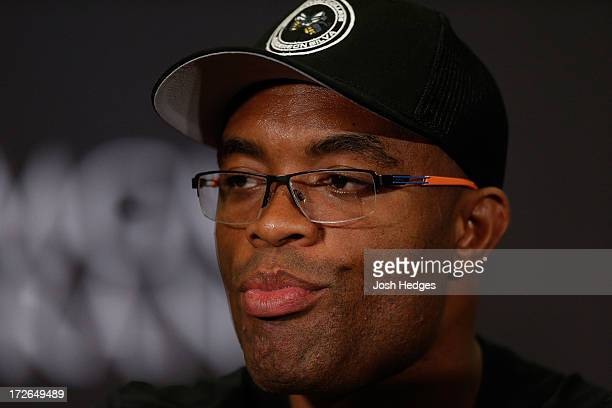 Middleweight Champion Anderson Silva interacts with media during the final UFC 162 press conference at the MGM Grand Hotel/Casino on July 4 2013 in...