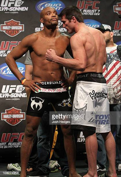 UFC Middleweight Champion Anderson Silva refuses to face off with opponent Chael Sonnen at the UFC 117 weighin at Oracle Arena on August 6 2010 in...