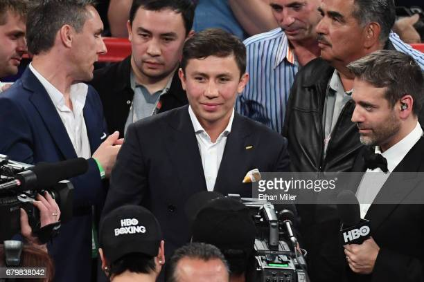 IBF middleweight champion Gennady Golovkin is interviewed in the ring by Max Kellerman after Canelo Alvarez defeated Julio Cesar Chavez Jr by...
