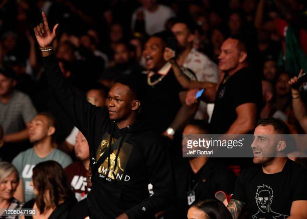 UFC middleweight champion Israel Adesanya and featherweight champion Alex Volkanovski attend the UFC Fight Night event at Spark Arena on February 23...
