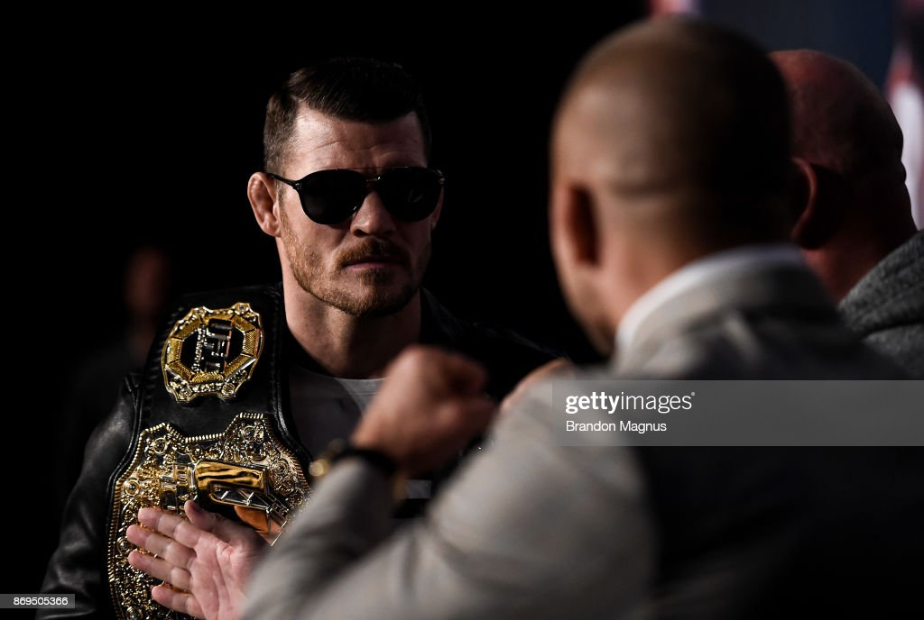 UFC middleweight champion Michael Bisping of England and Georges St-Pierre of Canada face off during the UFC 217 Press Conference inside Madison Square Garden on November 2, 2017 in New York City.