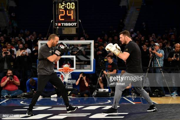 Middleweight Champion Michael Bisping of England holds an open workout session for fans and media inside Madison Square Garden on November 1, 2017 in...