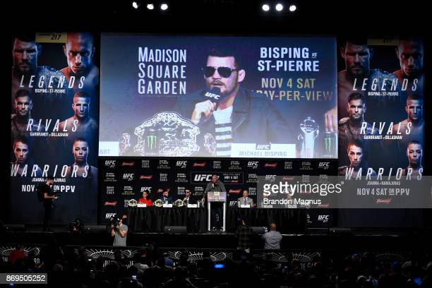 UFC middleweight champion Michael Bisping of England speaks to the media during the UFC 217 Press Conference inside Madison Square Garden on November...