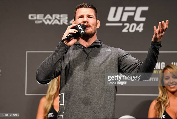 UFC middleweight champion Michael Bisping talks to the fans during the UFC 204 weighin at the Manchester Central Convention Complex on October 7 2016...