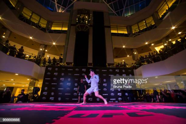 UFC middleweight contender Lyoto Machida of Brazil holds an open training session at Barra Shopping Mall on May 9 2018 in Rio de Janeiro Brazil