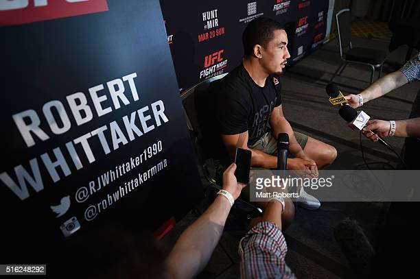 UFC middleweight contender Robert Whittaker speaks to media during the Ultimate Media Day on March 18 2016 in Brisbane Australia