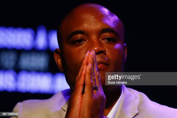Middleweight fighter Anderson Silva of Brazil attends the media during the UFC 212 press conference at Morro da Urca on April 11 2017 in Rio de...