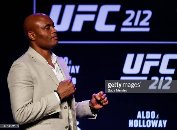 Middleweight fighter Anderson Silva of Brazil poses for photographers during the UFC 212 press conference at Morro da Urca on April 11 2017 in Rio de...