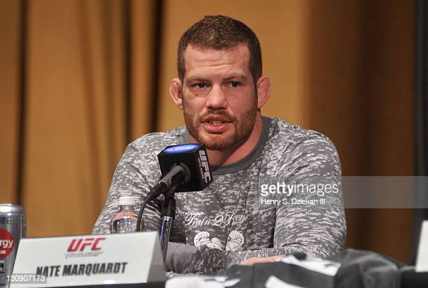 UFC middleweight fighter Nate Marquardt attends the UFC 128 Press Conference at Radio City Music Hall on March 16 2011 in New York City