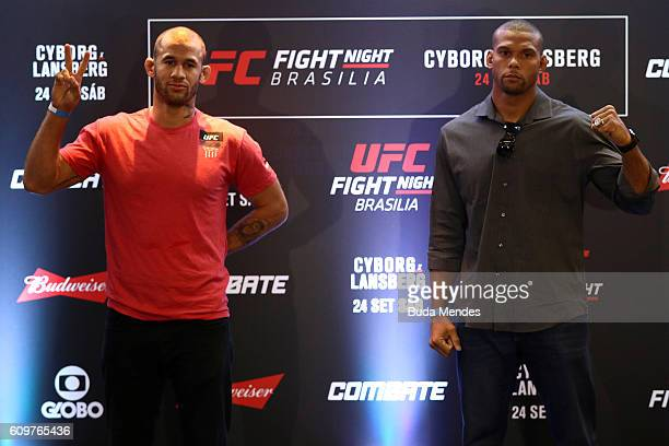 Middleweight fighters Thiago Santos of Brazil and Eric Spicely of the United States pose for photo during Ultimate Media Day at Windsor Brasilia...