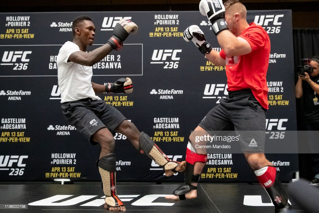 UFC middleweight Israel Adesanya of Nigeria works out for