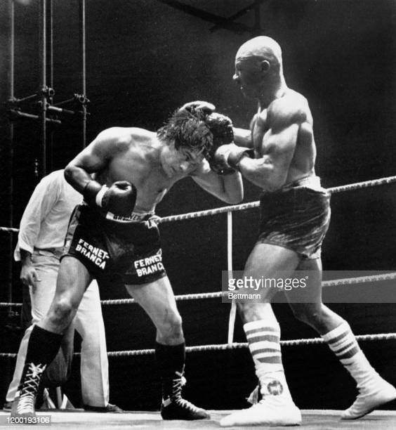 Middleweight Marvin Hagler of the U.S. And Norbert Cabrera of Argentina early in the 7th round of their bout in Monaco. Hagler won by resignation of...