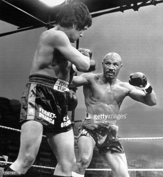 Middleweight Marvin Hagler of the U.S. Observes Norbert Cabrera of Argentina early in the 1st round of their bout in Monaco. Hagler won by...
