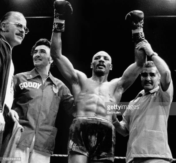 Middleweight Marvin Hagler of the U.S. Raises his arms after he defeated Norbert Cabrera of Argentina in the 9th round at Monaco.