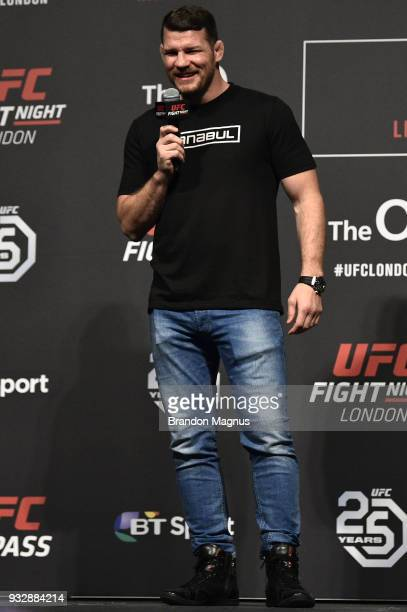 UFC middleweight Michael Bisping interacts with fans during a QA session after the UFC Fight Night weighin inside The O2 Arena on March 16 2018 in...
