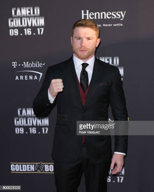 "Middleweight World Champion Canelo Alvarez attends the Canelo Alvarez and Gennady ""GGG"" Golovkin press tour presented by Hennessy at AVALON Hollywood..."