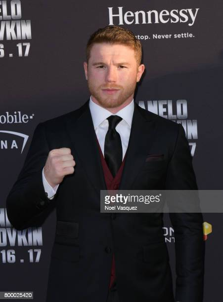 """Middleweight World Champion Canelo Alvarez attends the Canelo Alvarez and Gennady """"GGG"""" Golovkin press tour presented by Hennessy at AVALON Hollywood..."""