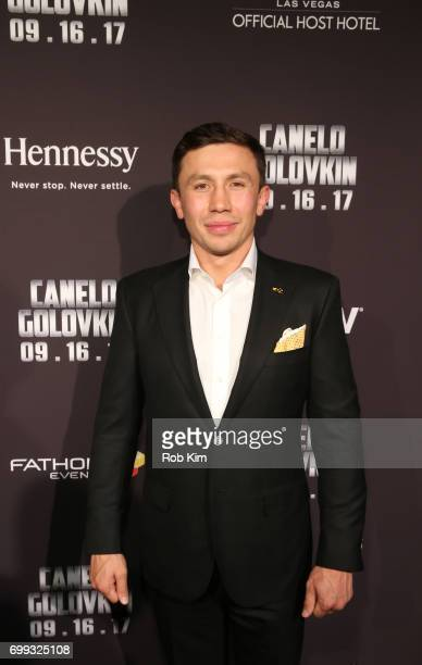 "Middleweight World Champion Gennady ""GGG"" Golovkin attends the Canelo vs Golovkin press tour sponsored by Hennessy the world's bestselling Cognac at..."