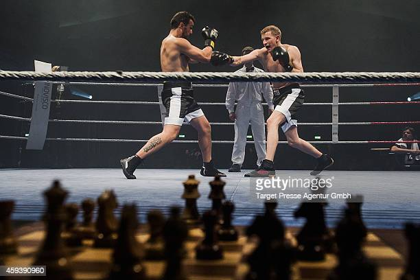 Middleweight World champion in chessboxing Sven Rooch from Germany competes with his Spanish challenger for the World Championship Jonathan Rodriguez...
