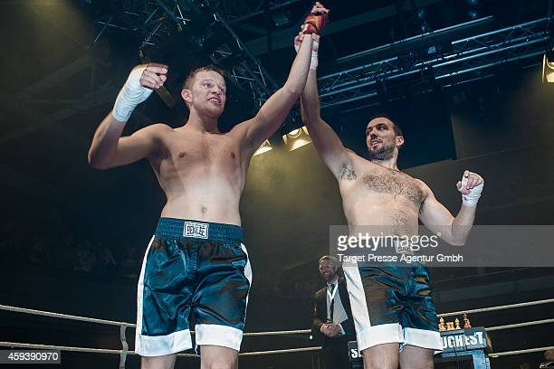 Middleweight World champion in chessboxing Sven Rooch from Germany celebrates his win against his Spanish challenger for the World Championship...