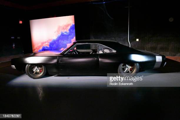 Mid-engine Hellcat-powered Dodge Charger at the F9 Fest event on the Universal Studios backlot celebrating F9: The Fast Saga on September 15, 2021 in...