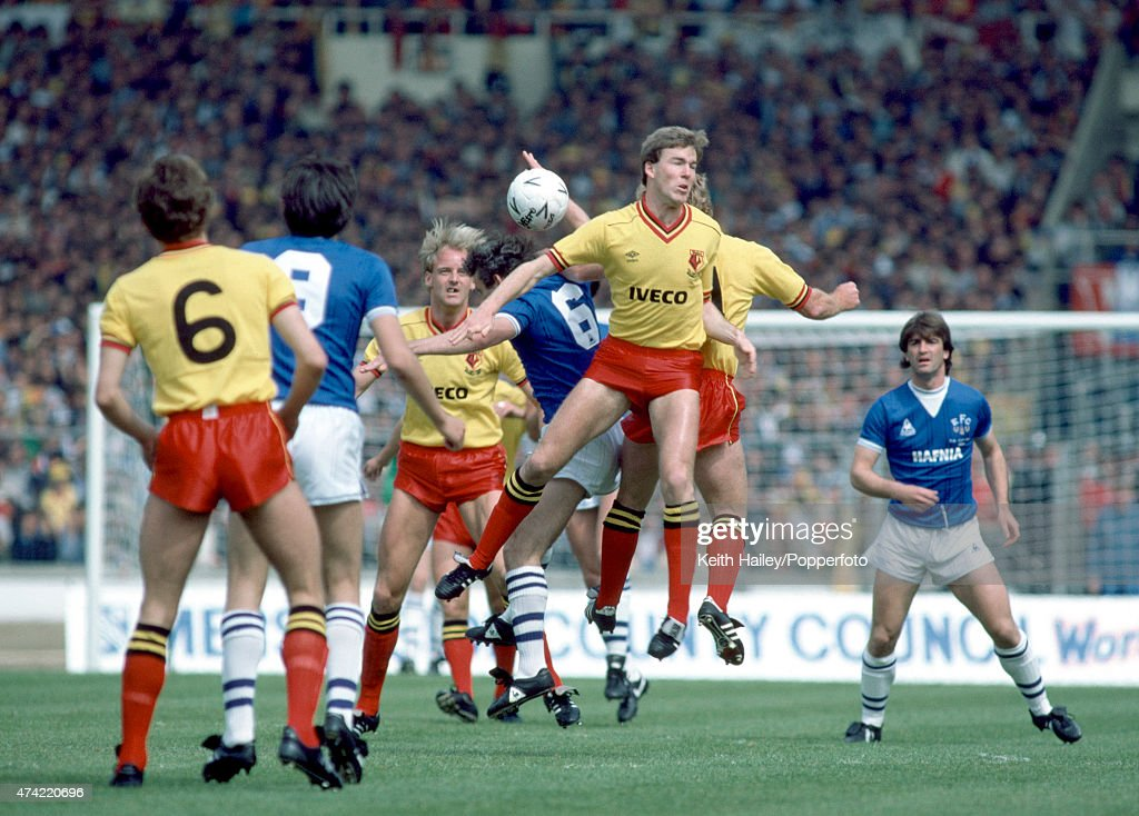 Midfield action from the FA Cup Final between Everton and Watford at Wembley Stadium in London, with Kenny Jackett of Watford jumping the highest, 19th May 1984. Everton won 2-0.