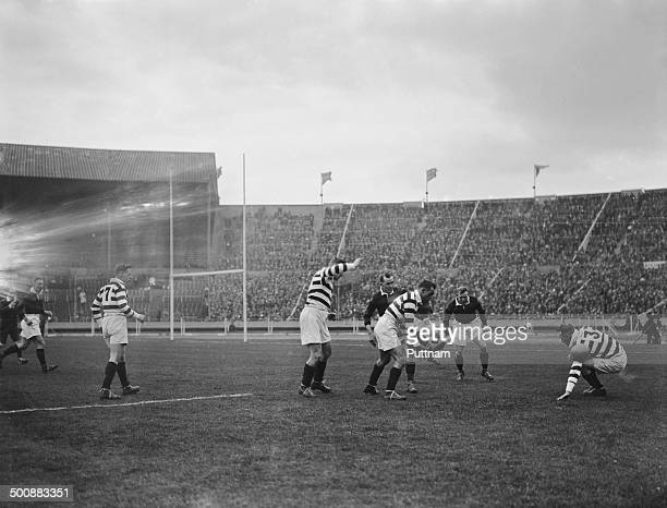 Midfield play during the first Challenge Cup Final, between Wigan and Dewsbury, at Wembley Stadium, London, 4th May 1929. Wigan won the match 13-2.